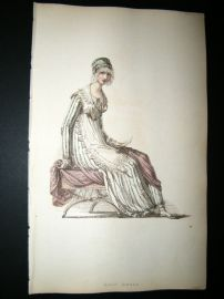 Ackermann 1814 Hand Col Regency Fashion Print. Half Dress 12-25